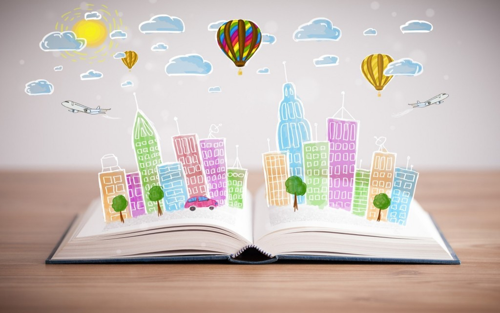 book-city-buildings-trees-cars-airplane-clouds-sun-hd-wallpaper